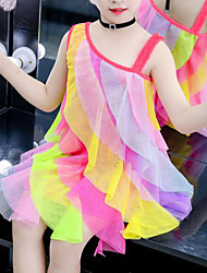 cheap -Kids Girls' Cute Street chic Patchwork Mesh Patchwork Sleeveless Knee-length Dress Rainbow