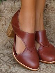cheap -Women's Sandals Heel Sandals Summer Chunky Heel Round Toe Daily PU Black / Red / Orange