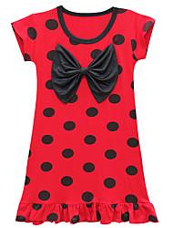 cheap -Kids Girls' Basic Chinoiserie Polka Dot Heart Bow Ruffle Sleeveless Knee-length Dress Red