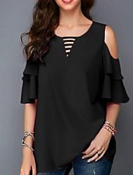 cheap -Women's Solid Colored Layered Ruffle T-shirt Daily Black / Yellow / Blushing Pink / Fuchsia / Navy Blue / Gray