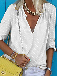 cheap -Women's Plus Size Solid Colored Polka Dots Loose Shirt Daily V Neck White / Blue / Purple / Red / Yellow / Gray