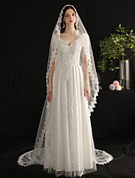 cheap -One-tier Elegant & Luxurious Wedding Veil Cathedral Veils with Fringe Tulle