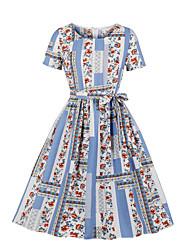 cheap -Women's A Line Dress - Short Sleeves Print Blue S M L XL XXL / Cotton