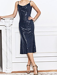 cheap -Sheath / Column Glittering Black Party Wear Cocktail Party Dress Jewel Neck Sleeveless Tea Length Sequined with Sequin 2020