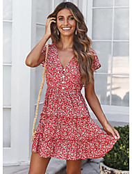 cheap -Women's Red Dress A Line Floral S M