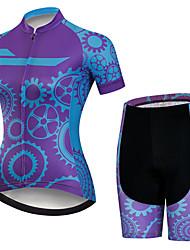 Недорогие -21Grams Жен. С короткими рукавами Велокофты и велошорты Черный / синий Шестерня Велоспорт Наборы одежды Дышащий 3D-панель Быстровысыхающий Ультрафиолетовая устойчивость Впитывает пот и влагу