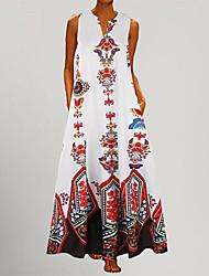 cheap -Women's Plus Size Maxi A Line Dress - Sleeveless Polka Dot Striped Print V Neck Vintage Belt Not Included Loose White Black Blue Yellow Light Blue S M L XL XXL XXXL XXXXL XXXXXL