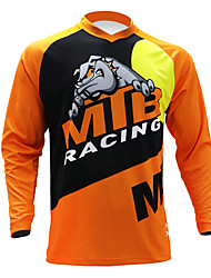 cheap -21Grams Men's Long Sleeve Cycling Jersey Downhill Jersey Dirt Bike Jersey Black / Orange Novelty Animal Cow Bike Jersey Top Mountain Bike MTB Road Bike Cycling UV Resistant Breathable Quick Dry Sports
