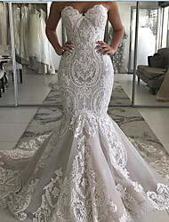 cheap -Mermaid / Trumpet Wedding Dresses Sweetheart Neckline Sweep / Brush Train Polyester Strapless Country Plus Size with Embroidery 2020