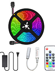 Недорогие -5м гибкие светодиодные полосы света комплекты светильников RGB TIKTO 300 300 светодиодов SMD5050 10мм 17-клавишный пульт дистанционного управления / 1 х 12В 5а блок питания 1