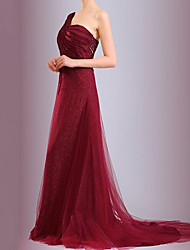 cheap -A-Line Glittering Red Engagement Formal Evening Dress One Shoulder Sleeveless Sweep / Brush Train Polyester with Ruched Sequin 2020