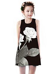 cheap -Kids Girls' Basic Cute Rose Plants Floral Animal Print Sleeveless Knee-length Dress Black