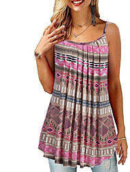 cheap -Women's Color Block Pleated Lace up Print Blouse Daily Strap Wine / Black / Blue / Purple / Red / Blushing Pink / Navy Blue / Gray