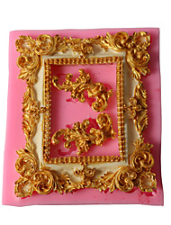 cheap -1pcs Vintage Rose Lace Frame Picture Frame Silicone Mold DIY