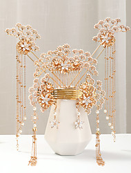 cheap -Women's Hair Combs Hair Sticks Earrings For Wedding Engagement Party Wedding Pearl Alloy Golden 1pc