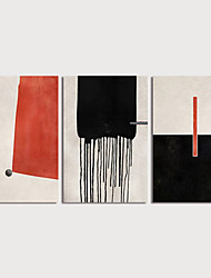 cheap -Hand Painted Canvas Oilpainting Abstract set of 3 Home Decoration with Frame Painting Ready to Hang With Stretched Frame