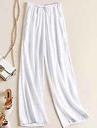 cheap -Women's Basic Loose Cotton Wide Leg Chinos Pants - Solid Colored White Black Beige S / M / L