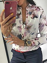 cheap -Women's Floral Shirt Daily Shirt Collar White