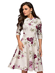 cheap -Women's A Line Dress Midi Dress White Red 3/4 Length Sleeve Print Round Neck S M L XL XXL 3XL
