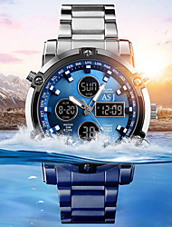 Недорогие -ASJ Муж. Спортивные часы Наручные часы электронные часы Японский Кварцевый Нержавеющая сталь Белый 30 m Защита от влаги Секундомер ЖК экран Аналого-цифровые Мода Нарядные часы - Синий Белый Черный