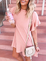 cheap -Women's Loose Dress - Short Sleeves Solid Color Ruffle Spring & Summer Street chic Going out Weekend Petal Sleeve Belt Not Included Loose Blushing Pink Gray S M L XL / Cotton