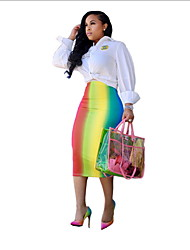cheap -Women's Daily Wear Basic A Line Skirts - Color Block Blushing Pink Blue Rainbow S M L