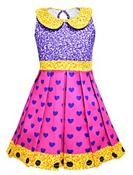 cheap -Kids Girls' Active Cute Polka Dot Heart Pleated Sleeveless Knee-length Dress Purple