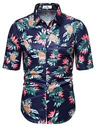 voordelige -Heren Geometrisch Fruit Ananas Print Overhemd Hawaii Dagelijks blauw