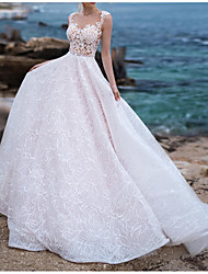 cheap -Ball Gown Wedding Dresses Scoop Neck Chapel Train Lace Tulle Sleeveless Beach Plus Size with Draping Appliques 2020