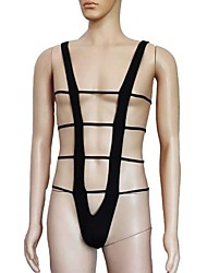 cheap -Men's Cut Out Bodysuits Nightwear Solid Colored Black One-Size