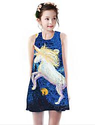cheap -Kids Girls' Basic Cute Unicorn Geometric Animal Cartoon Print Sleeveless Knee-length Dress Blue