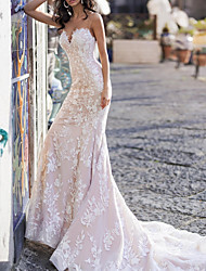 cheap -Mermaid / Trumpet Wedding Dresses Sweetheart Neckline Chapel Train Tulle Sleeveless Country Plus Size with Draping Appliques 2020