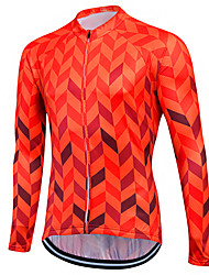 cheap -Fastcute Men's Women's Long Sleeve Cycling Jersey Winter Coolmax® Skin Red Purple Yellow Plus Size Bike Sweatshirt Jersey Top Mountain Bike MTB Road Bike Cycling Breathable Quick Dry Reflective Strips