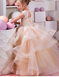 cheap -Ball Gown Floor Length Wedding / Birthday Flower Girl Dresses - Polyester Sleeveless Jewel Neck with Tier / Appliques