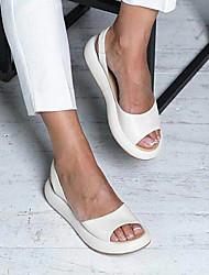 cheap -Women's Sandals Flat Sandal 2020 Spring & Summer Flat Heel Peep Toe Minimalism Home Solid Colored PU White / Yellow / Pink
