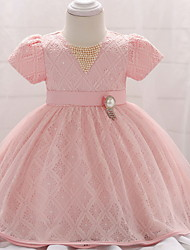 cheap -Ball Gown Floor Length Party / Birthday Flower Girl Dresses - Lace / Tulle Short Sleeve Jewel Neck with Belt / Beading