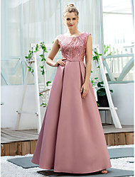 cheap -A-Line Elegant Pink Engagement Prom Dress Jewel Neck Sleeveless Floor Length Polyester with Sequin 2020