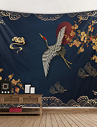 cheap -Chinese Style Wall Tapestry Art Decor Blanket Curtain Picnic Tablecloth Hanging Home Bedroom Living Room Dorm Decoration Crane Bird Flower Cloud