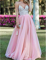 cheap -A-Line Sparkle Pink Engagement Formal Evening Dress Spaghetti Strap Sleeveless Floor Length Tulle with Pleats Crystals 2020