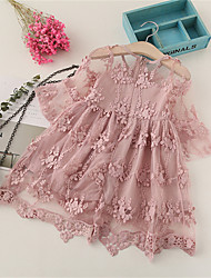 cheap -Kids Girls' Basic Solid Colored Lace Mesh Long Sleeve Knee-length Dress Blushing Pink