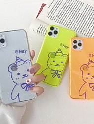 cheap -Case For Apple iPhone 11 11 Pro 11 Pro Max Fluorescent her bear pattern TPU transparent material painting process scratch-resistant mobile phone case