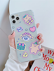 cheap -Case For Apple scene map Apple iPhone 11 11 Pro 11 Pro Max Cute girl and bear pattern High penetration TPU Material Painted Craft scratch proof phone case
