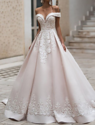 cheap -Ball Gown Wedding Dresses Off Shoulder Court Train Polyester Cap Sleeve Country Plus Size with Appliques 2021
