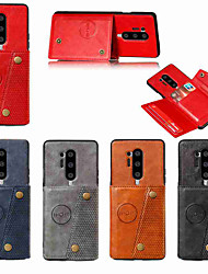 cheap -Case For OnePlus OnePlus 8 / OnePlus 8 Pro Card Holder / with Stand Full Body Cases Solid Colored PU Leather / TPU