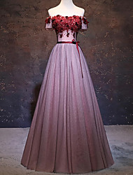 cheap -A-Line Floral Pink Engagement Formal Evening Dress Strapless Short Sleeve Floor Length Tulle with Sash / Ribbon Pleats Appliques 2020