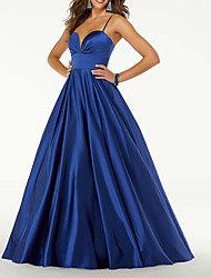 cheap -A-Line Elegant Minimalist Prom Formal Evening Dress Spaghetti Strap Sleeveless Floor Length Satin with Sleek 2020