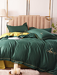 cheap -Duvet Covers 4 Pieces Lace Decorative Solid Color Dark Green Quilt Cover Embroidery Piece Bedding Plain Sheets