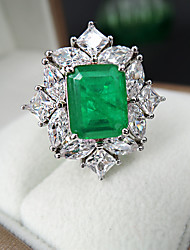 cheap -8 carat Synthetic Emerald Ring Alloy For Women's Emerald cut Antique Luxury Bridal Wedding Party Evening Formal High Quality Pave