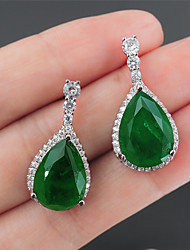 cheap -7 carat Synthetic Emerald Earrings Alloy For Women's Pear cut Antique Luxury Bridal Wedding Party Evening Formal High Quality Pave 2pcs