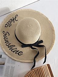 Недорогие -Жен. Классический Соломенная шляпа Шляпа от солнца Хлопок Лён,Однотонный Все сезоны Хаки Бежевый